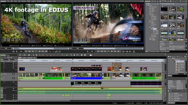import and edit 4K footage in Edius