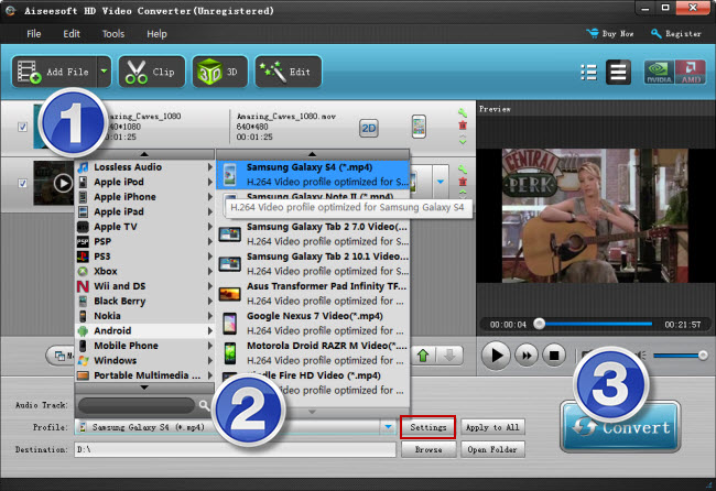 convert MKV/MTS/AVI/MPG/VOB/FLV/WMV videos to MP4 for Galaxy Alpha