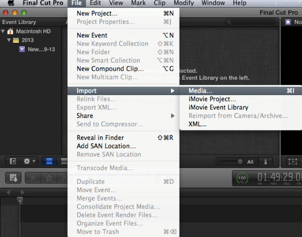 import video from camera to fcpx