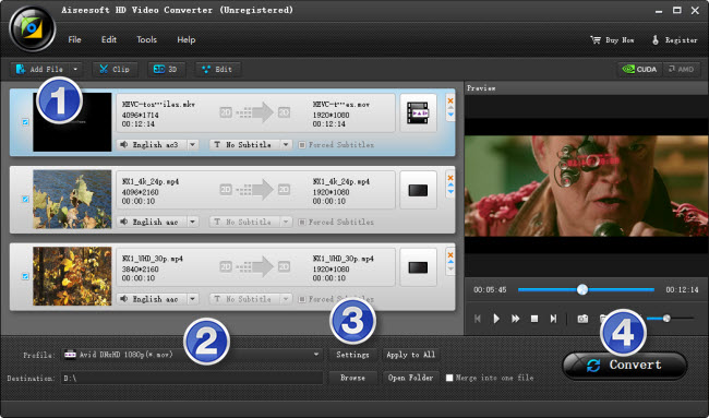 encoding 4K content to DNxHD for Avid MC