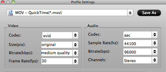 transcode mxf to mov settings
