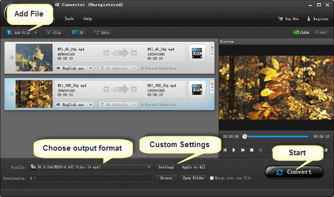 rewrap 4K content to MPG, MP4, MOV, WMV… at 4K/1080P/720P
