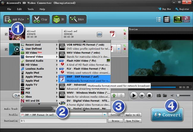 take an .flv and convert it to a .swf file