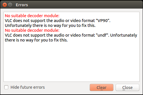 troubles playing VP9 videos in VLC